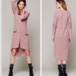 Free People ribbed up maxi cardigan - MAUVE